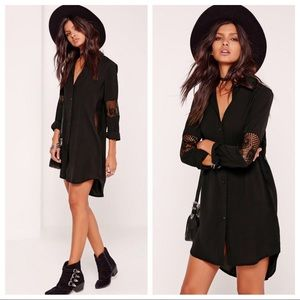 Missguided Black Lace Insert Shirt Dress